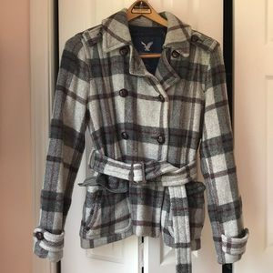 American Eagle Heavy Wool-Blend Plaid Pea Coat. L
